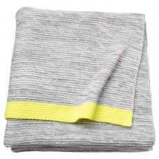 بطانية لون رمادي فاتح وأصفر 170x130سم