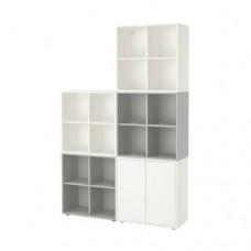 مجموعة خزانة بأقدام, أبيض/رمادي فاتح