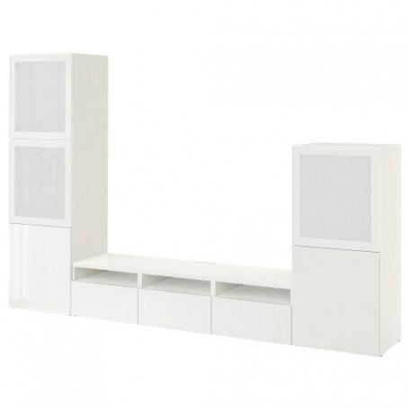 تشكيلة تخزين تلفزيون/ باب زجاجي لون أبيض زجاج أبيض مصنفر/شديد اللمعان