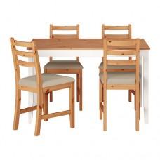 طاولة و4 كراسي, طلاء عتيق فاتح,  بيج