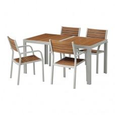 طاولة و 4 كراسي، للأماكن الخارجية بني فاتح رمادي فاتح