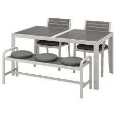 طاولة وكرسيين + مقعد