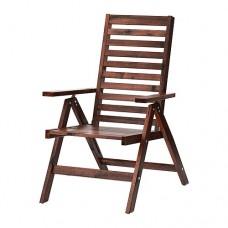 كرسي بظهر متحرك، للأماكن الخارجية بني قابل للطي بني مطلي بني