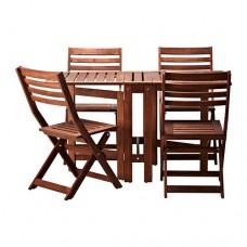 طاولة و4 كراسي قابلة للطي، للأماكن الخارجية بني مطلي بني