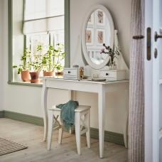 طاولة زينه مع مرآة لون أبيض+ مقعد تسريحه خشب لون أبيض