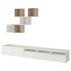 تشكيلة خزانة للتلفزيون, أبيض, مظهر بلوط أبيض اللون