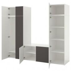 خزانة ملابس ذات 8 أبواب لون أبيض-رمادي فاتح