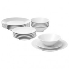طقم تقديم من 18 قطعة أبيض