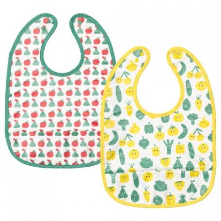 صدرية طفل نقش فاكهة/خضار أخضر أصفر