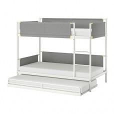 سرير طابقين فولاذ أبيض مع سرير سفلي