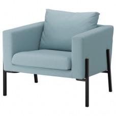 كرسي بذراعين لون أزرق فاتح, أسود