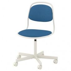 كرسي دوار لون أبيض وأزرق