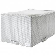 صندوق تخزين، أبيض/رمادي، 34x51x28 سم