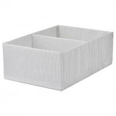صندوق بحجيرات، أبيض/رمادي، 34x51x18 سم
