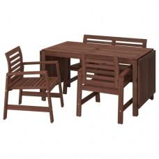 طاولة وكرسيان بمقابض + مقعد