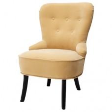 كرسي بذراعين لون أصفر- بيج