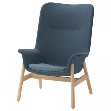 كرسي بذراعين وظهر مرتفع  أزرق