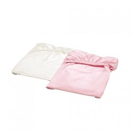مفرش برباط لسرير طفل لون أبيض زهري قطعتين