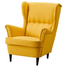كرسي بذراعين لون أصفر