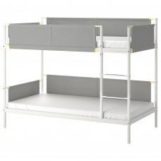 سرير طابقين فولاذ أبيض