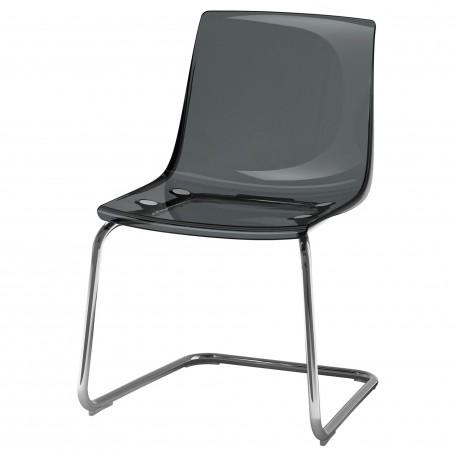 كرسي شفاف مطلي بالكروم