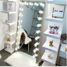 مرآة هوليوود تصميم رقم 4 (عملاقة مع اضاءة ورفوف خشب جانبية)