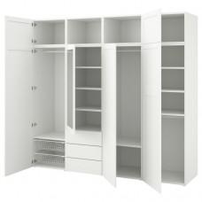 خزانة ملابس مع 7 أبواب + 3 أدراج أبيض