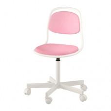 كرسي مكتب أطفال لون أبيض وزهري