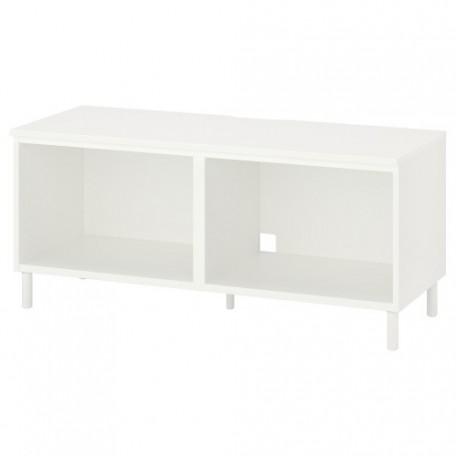 طاولة تلفزيون لون أبيض+أرجل معدن