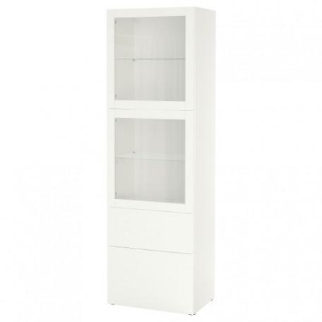 تشكيلة تخزين مع أبواب زجاج أبيض