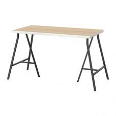 طاولة مكتب أبيض شكل خشب البلوط مطلي أبيض 120x60 سم