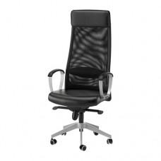 كرسي دوار لون أسود (جلد)